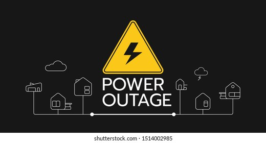 The power outage banner with a warning sign the one is on the solid black background also there are the outline icons of houses connect each other.