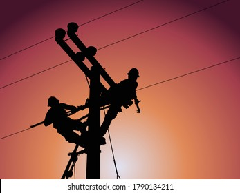Power outage concept : Lineman is releasing the electricity of the transformer from the high voltage distribution system. To check the cause of the power failure.