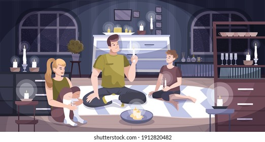 Power outage home composition a family of three sits in an apartment with candles because there is no light at home vector illustration