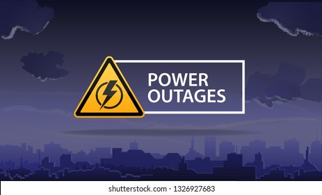 Power outage, logo on the background of the city without electricity
