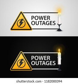 Power outages. Banner with a candle on a black and white background