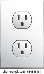 Power outlet in style used in the USA in vector format