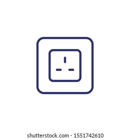 power outlet with type G socket, vector line icon