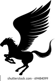 Power pegasus with wings. Vector illustration can be scale to any size.