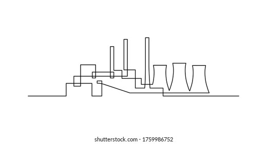 Power plant in continuous line art drawing style. Power station with cooling towers minimalist black linear design isolated on white background. Vector illustration