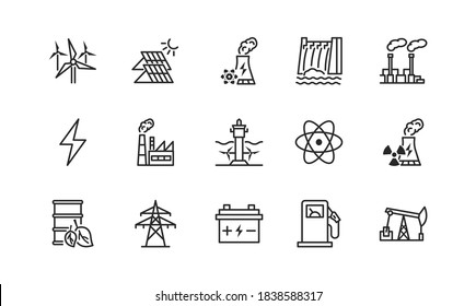 Power plant flat line icons set. Energy generation station. Vector illustration alternative renewable energy sources included solar, wind, hydro, tidal, geothermal and biomass energy. Editable strokes