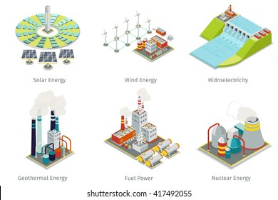 Power plant icons. Electricity generation sources. Hydroelectricity, geothermal, solar and wind energy. Vector illustration