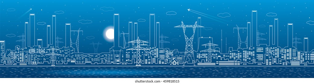 Power plant on the water, electricity lines, energy and industrial panoramic, infrastructure, vector design art
