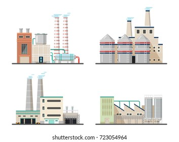 Power plants with chimneys, pipes and tanks. Chemical factory and industrial energy manufacturing constructions, buildings that pollute air and environment. Industry and construction theme