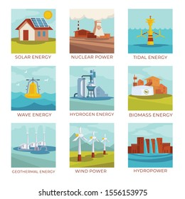 Power plants and natural energy sources, isolated icons vector. Solar battery and nuclear factory, tidal and wave stations, hydrogen and biomass. Geothermal sourcing and windmills, hydropower