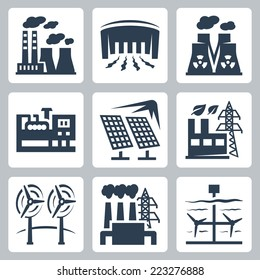Power plants vector icons set: thermal, hydro, nuclear, diesel, solar, eco, wind, geothermal, tidal