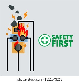 Power plug is full,Short circuit,Safety first,Vector design