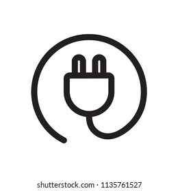 Power Plug Icon. Line vector. Isolate on white background.