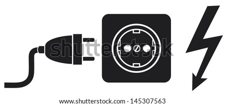Power Plug Outlet Lightning Symbol Stock Vector Royalty Free