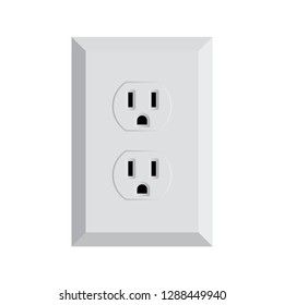 Power plug vector illustration icon. Twin electrical socket Type B. Receptacle from USA