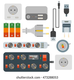 Power plugs, electrical outlet and power socket vector set. Electrical outlet power socket switch cord supply. Connection wall power socket wire adapter device. Electric energy power plugs equipment.