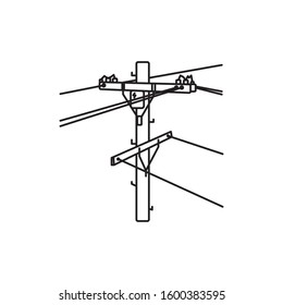 Power pole outline icon, Pole carrying telephone, electricity andcable tvequipment. Vector eps 10.