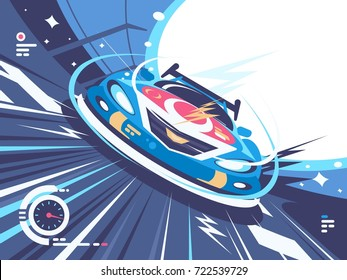 Power Racing Car On Speed Track Competitions Vector Illustration