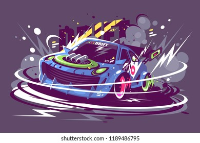 Power racing sport car drifting on race track. Burned tire smoke drift championship concept. Flat. Horizontal. Vector illustration