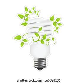 power saving. green light eco concept. vector illustration