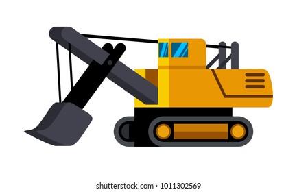Power shovel excavator minimalistic icon isolated. Construction equipment isolated vector. Heavy equipment vehicle. Color icon illustration on white background.
