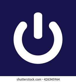 Power sign vector icon. Blue background