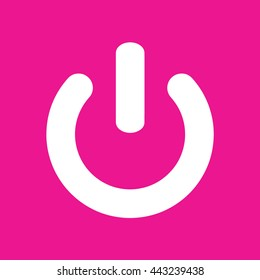 Power sign vector icon. Pink background