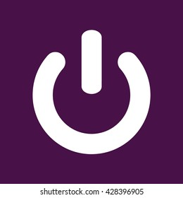 Power sign vector icon. Purple background