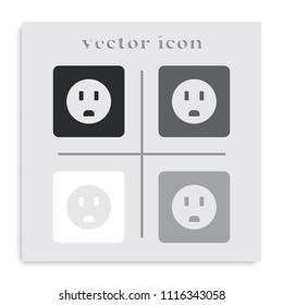 Power socket flat black and white vector icon.