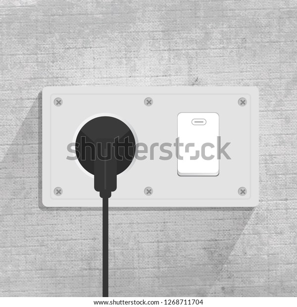 Power Socket Light Switch Connecting Plug Stock Vector
