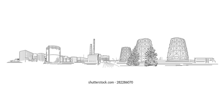 Power Station Illustration | Vector energy company sketch for business design