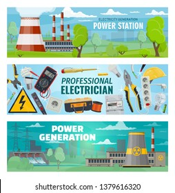 Power stations, energy generation and electrician engineer tools. Vector hydroelectric, nuclear and oil power plants, eco solar energy battery, electric voltage voltmeter, wire cutters and socket
