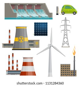 Power stations or energy production plants icons. Vector isolated flat set of electricity energy and powerhouse operating by coal, nuclear or water and wind or solar energy generation sources