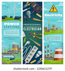 Power stations of nuclear and eco energy for electricity generation. Wind mills and solar batteries, water dams and nuclear plants. Electrician tools, pliers and screwdriver, wire and socket vector