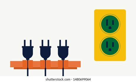 Power strip cord storage safety socket for use, flat design style.