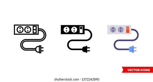 Power strip icon of 3 types: color, black and white, outline. Isolated vector sign symbol.