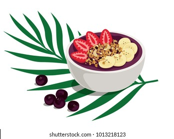 Power Summer Acai Bowl. Sweet and tropical fruit smoothie bowl with strawberries, banana and granola topping. A healthy breakfast over palm leaf with açai berries on the side. Isolated vector