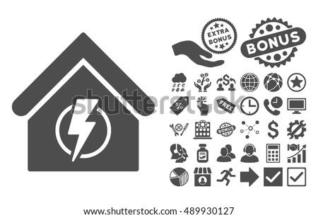 Power Supply Building Pictograph Bonus Symbols Stock Vector Royalty