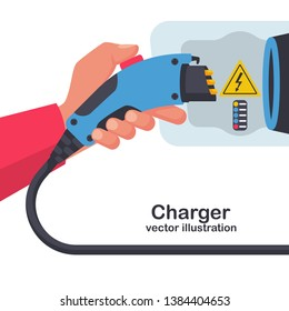 Power supply connect to electric car for add charge to battery. Electric car charger. Eco fuel. Vector illustration flat design. Connector for Electric refueling. Plug and socket. Green energy.