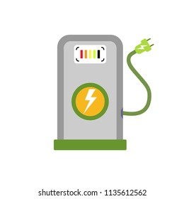 Power supply for electric car charging icon. EV car charger station flat vector illustration. Environmentally friendly automobile charger. Auto loading energy supply sign. Ecology, nature protection