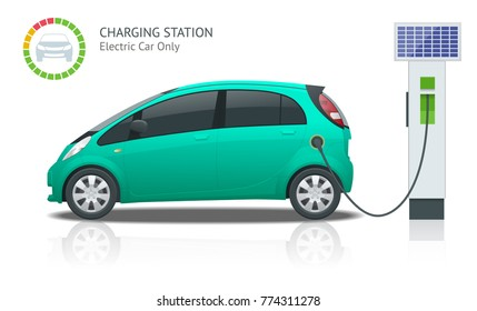 Power supply for electric car charging. Electric car charging station vector. Renewable eco technologies. Green power.