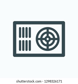 Power supply isolated icon, computer power supply block linear vector icon