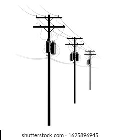 Power supply of residential buildings. A row of pillars on the street. Transformers and wires on poles. U.S. street