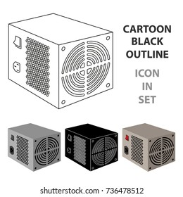 Power supply unit icon in cartoon style isolated on white background. Personal computer accessories symbol stock vector illustration.