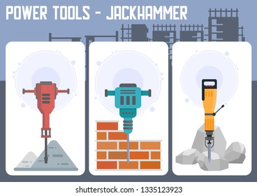 Power Tools for Building Deconstruction and Road Works Flat Vector Web Banner with Different Models of Jackhammer Illustration. Construction industry Equipment, instruments Spare Parts Store Poster