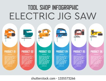Power Tools for Construction Materials Cutting Flat Vector Web Banner Professional Models of Electric Jig Saws Illustration. Construction industry Electric Equipment, Manual instruments Store Poster