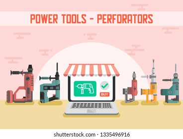 Power Tools for Construction Works Flat Vector Advertising Banner with Different Models of Industrial PUNCHERS Illustration. Construction industry Electric Equipment, instruments Store Poster Template