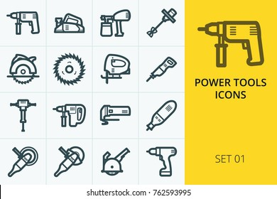 Power tools icons set. Set of electric drill, power planer, electric saw, grinder tool