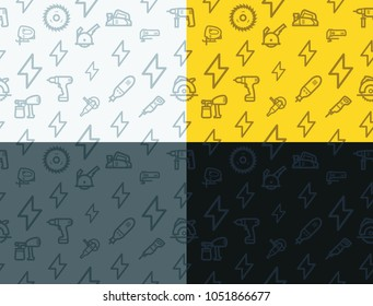 Power tools seamless texture. Light, dark, yellow electric tools icons seamless patterns backround with. Vector texture for website, mobile app, presentation.