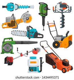Power tools vector electric construction equipment circular-saw lawn mower illustration set of electric jig-saw grass-cutter and carpentry tools isolated on white background
